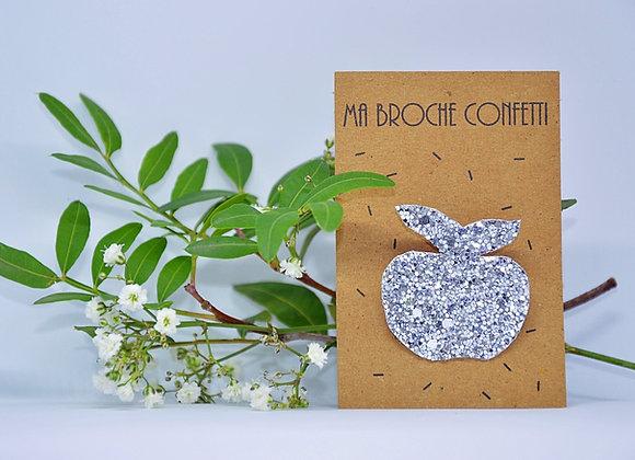 broche pomme confetti argent