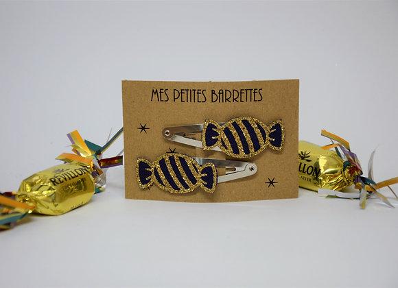 Barrettes bonbon paillettes et superflu or