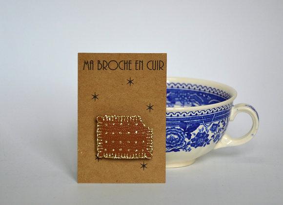 Broche Petit Beurre cuir camel