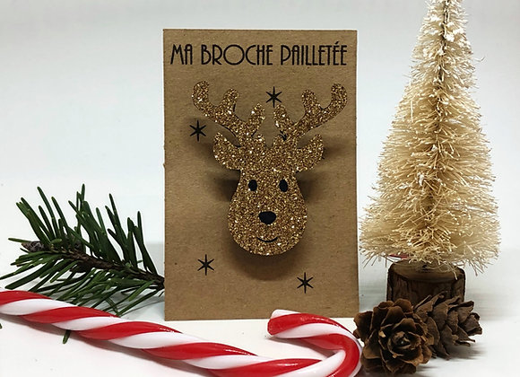 Paillettes & Superflu broche renne de Noël