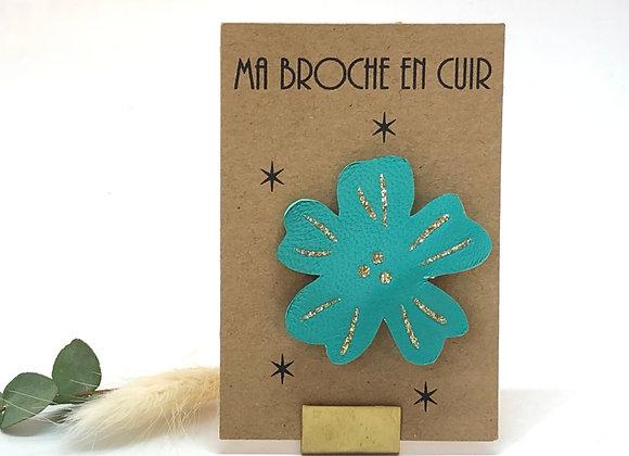 Paillettes & Superflu broche cuir Flower power