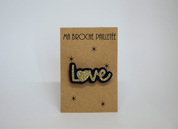 Ma broche mot love paillettes or