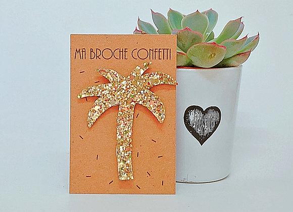 Ma Broche pailletée confetti or palmier