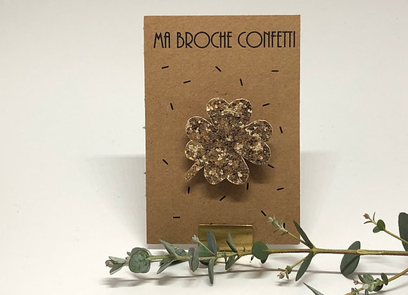 Broche Paillettes & Superflu trèfle confetti doré