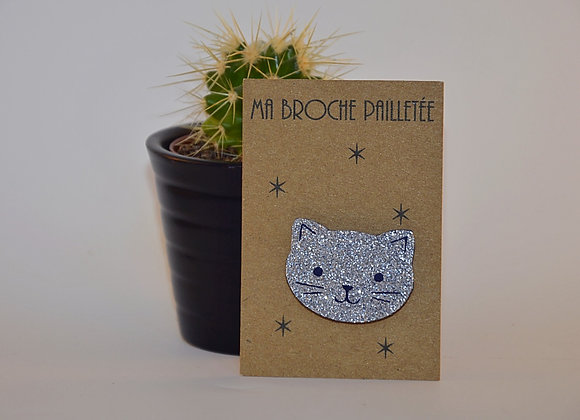 broche chat argent