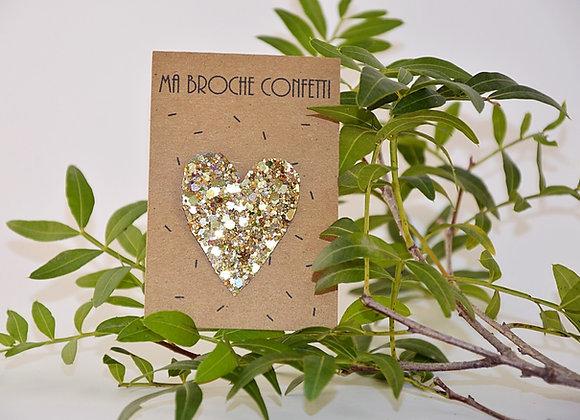 broche cœur confetti or