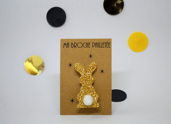 Broche Paillettes & Superflu Lapin or pompon