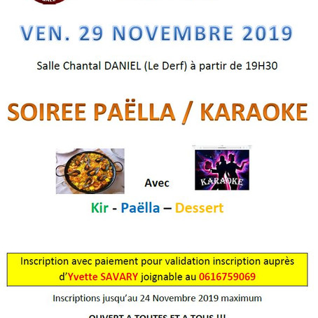 Soirée Paëlla : vendredi 19 novembre
