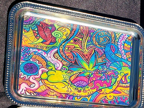 Trippy Silver Rolling Tray