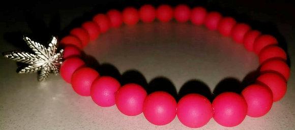 2 Hot Pink Friendship Beaded Potleaf Charm Bracelets