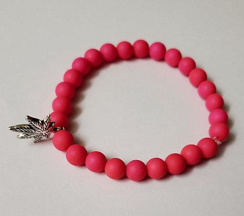 Pink Leaf Beaded Bracelet