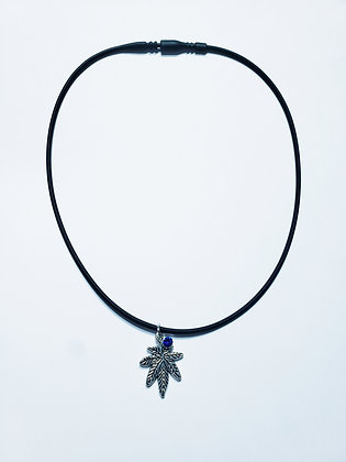 16' Cannabis Potleaf Necklace Blue