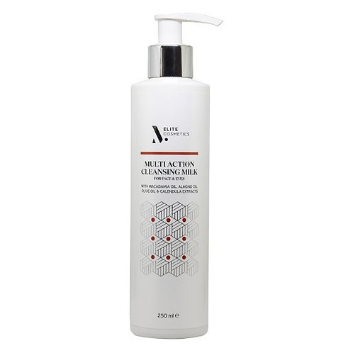 M-ELITE MULTI ACTION CLEANSING MILK FOR FACE & EYES WITH MACADEMIA OIL, ALMOND O