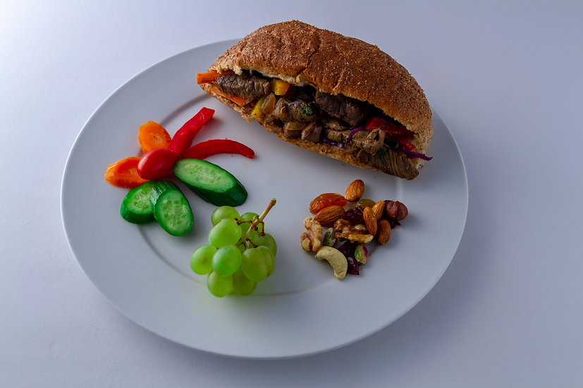 Chinese with meat sandwich