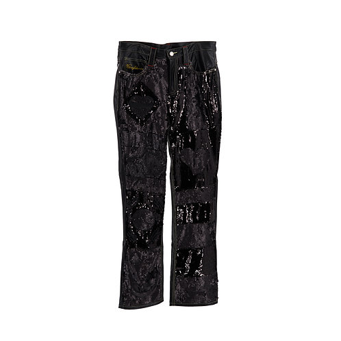 World Boss Leather Pants (Black Sequin)