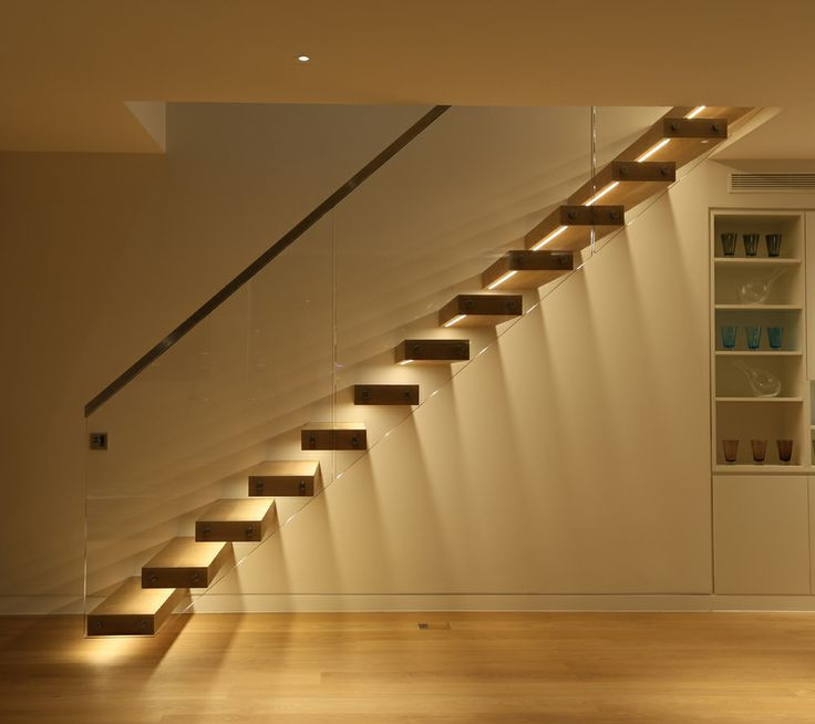 Floating Staircase With Lights