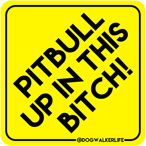 Pitbull Up In This Bitch Vehicle Sticker