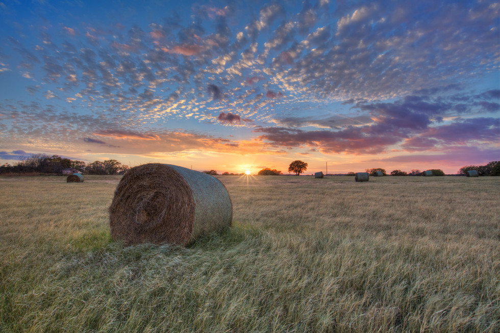 Sunset over Texas Hay Bales 1