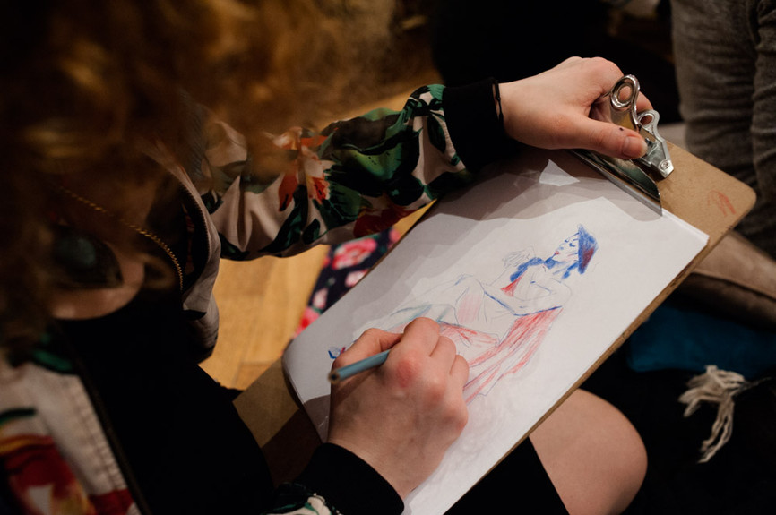 Live drawing event at the French Embassy