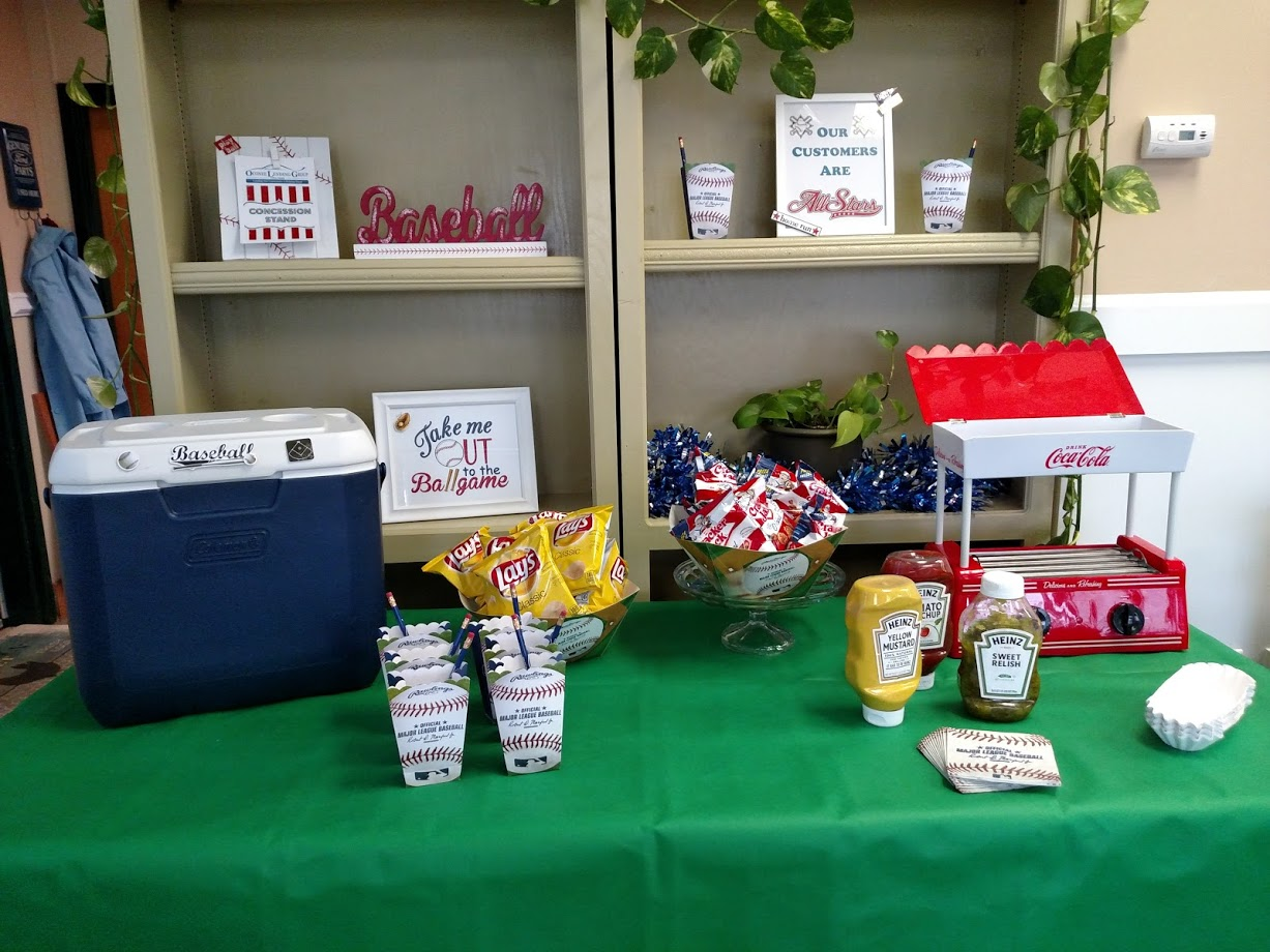 table displaying snacks and hot dogs