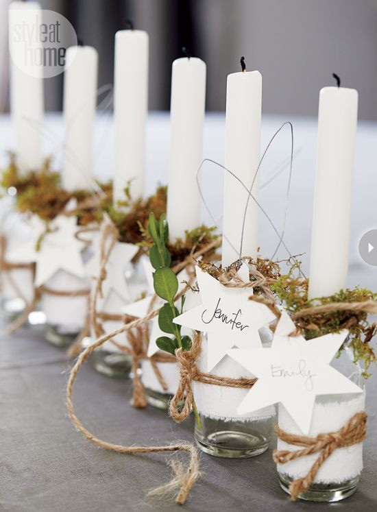 bottles with candles for table decor