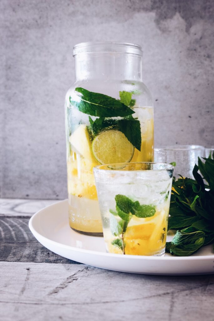 lemon and mint flavoured water