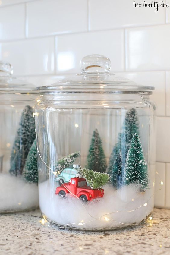 bottle brush trees in jars