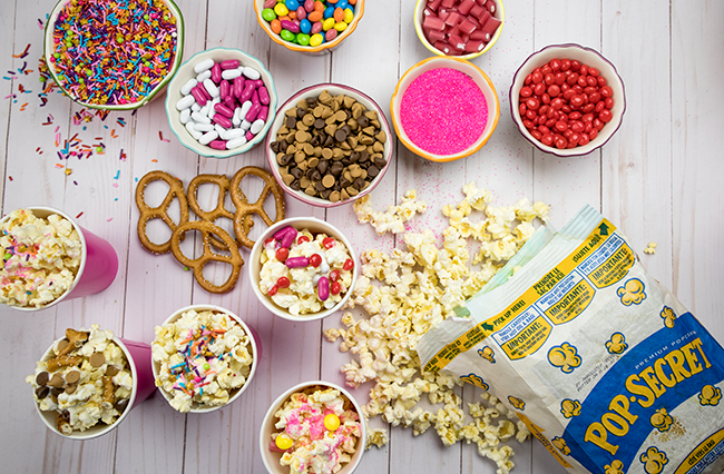 popcorn bar, popcorn toppings