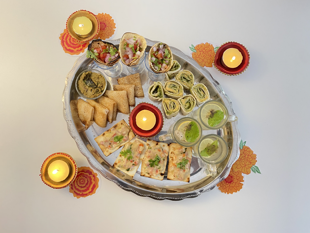 Diwali snack platter with miniature individual serving sizes