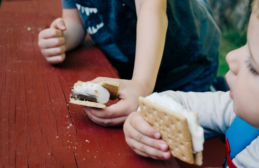 s'mores, marsh-mellows with chocolate and graham crackers