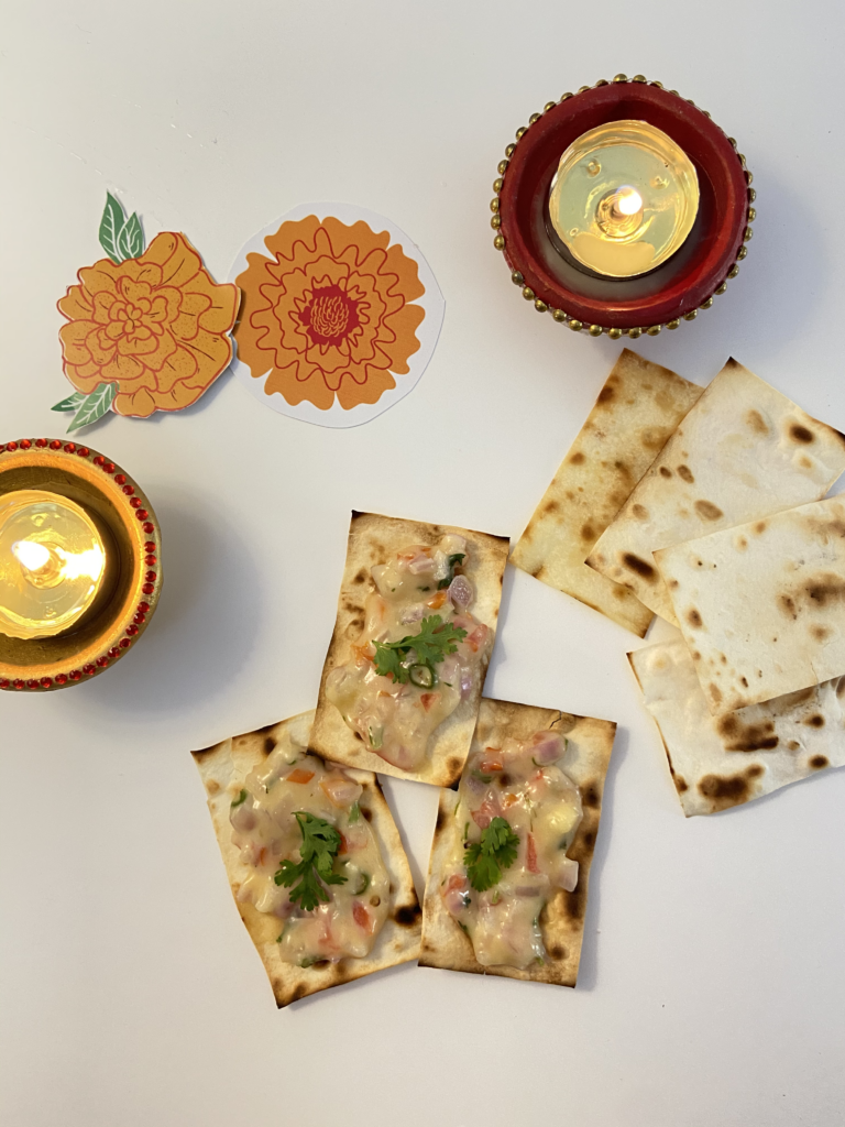 cheese chilly toast for a Diwali snack or appetizer
