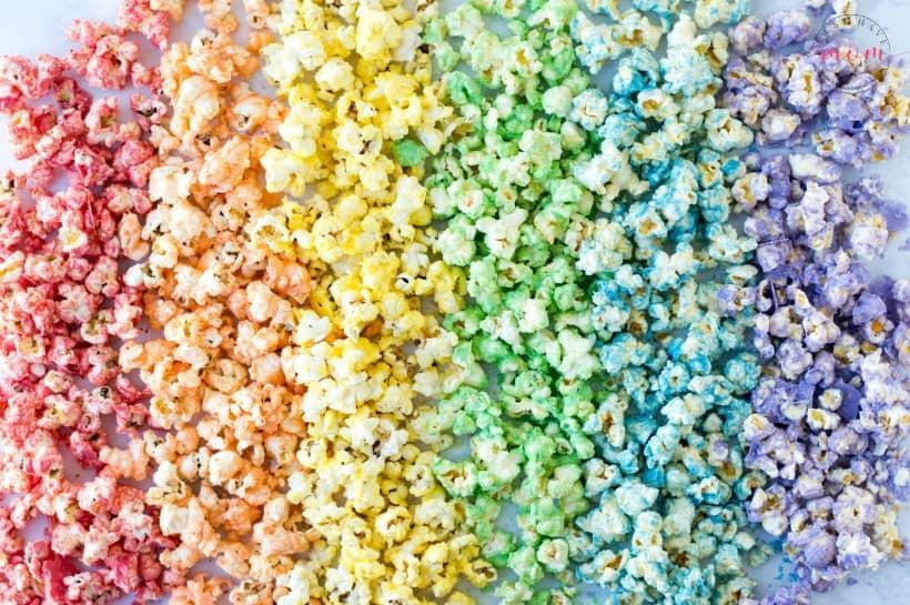 rainbow coloured popcorn