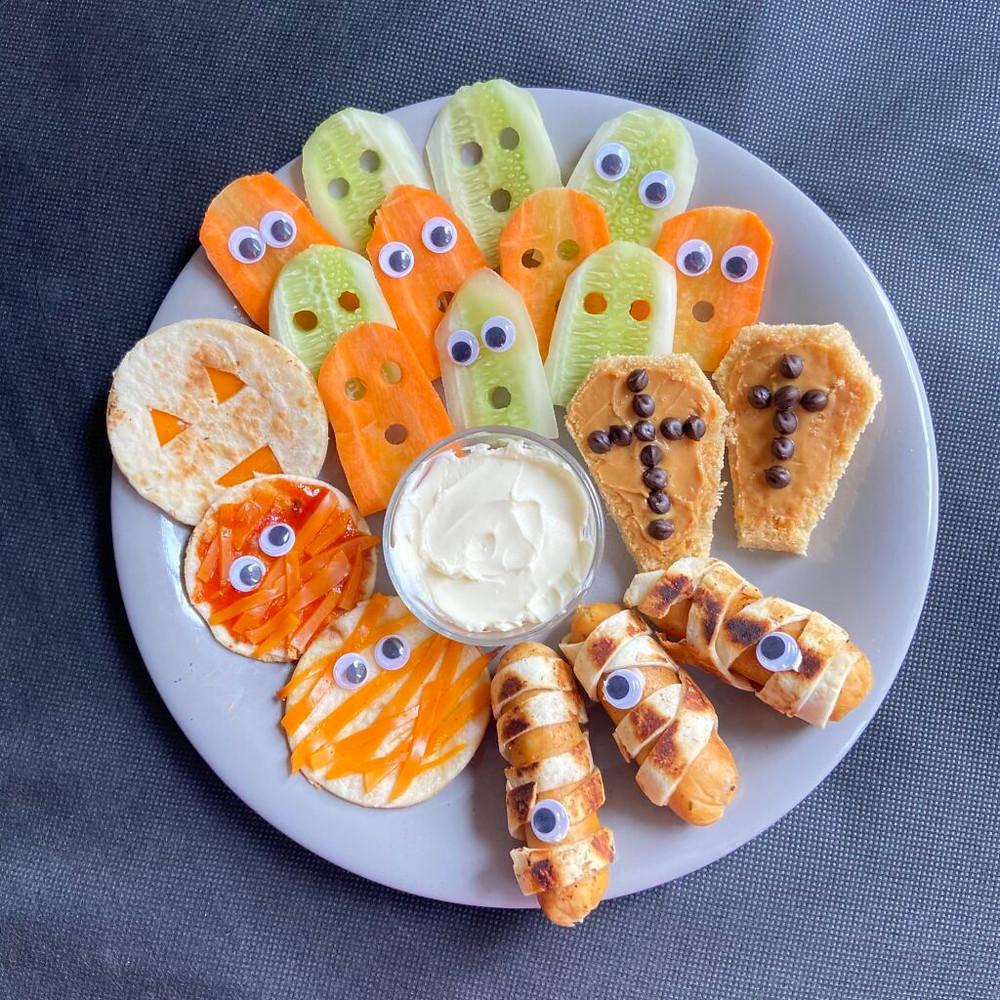 Halloween themed snack board