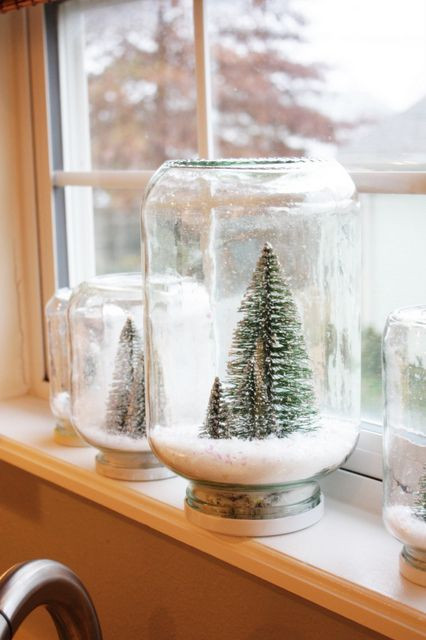 upside down jars with bottle brush trees