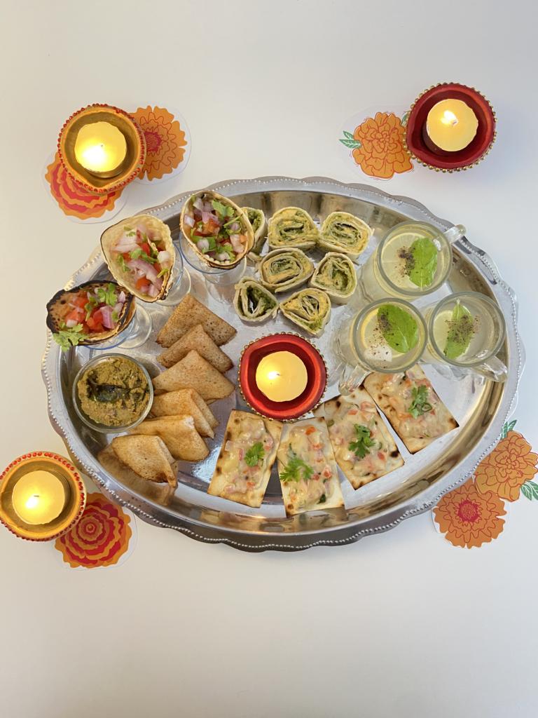 mini dosa and peanut chutney for a Diwali snack