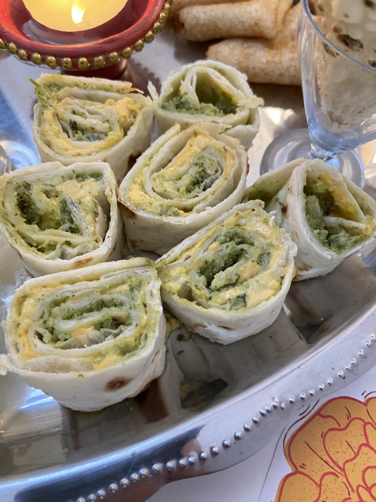 cheese and chutney pinwheels for a Diwali snack