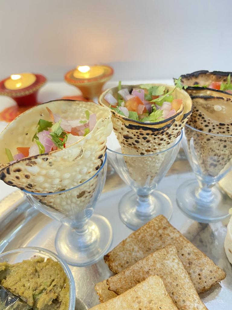 masala papad cones for Diwali snack or appetiizer