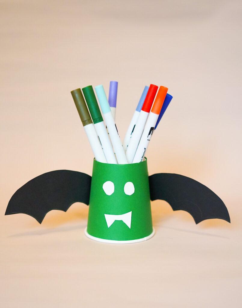 Halloween craft Vampire paper cup stationary holder