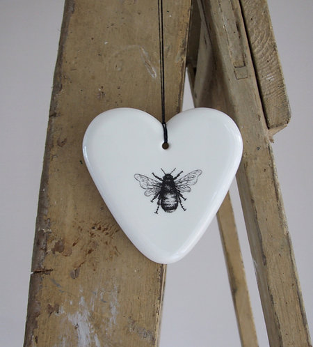 Slight second Mr Bumble large fine bone china hanging heart