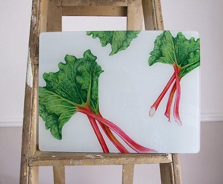 Rhubarb - recycled glass work top saver