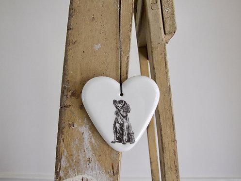 Wilbur large fine bone china hanging heart