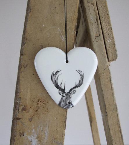 Rowan large fine bone china hanging heart