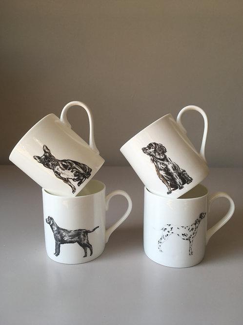 Slight second 4 x mug set - dogs - Fine Bone China