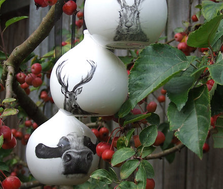 Large Fine Bone China Bauble Set x 3