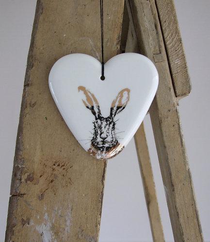 Clover gold large fine bone china hanging heart