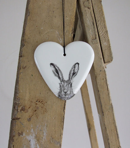 Clover large fine bone china hanging heart