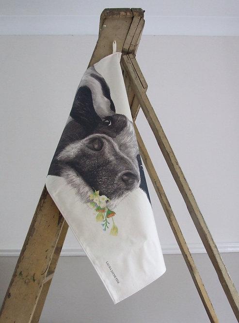 Beau with Flowers Tea Towel