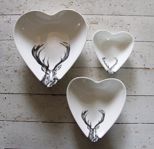Set of 3 x Rowan Heart Bowls