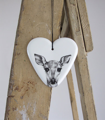 Clementine large fine bone china hanging heart
