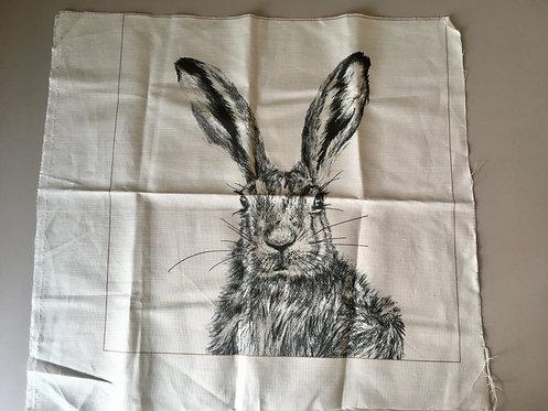 Clover cushion panel - white linen